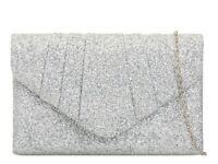Shinny Silver Glitter Wedding Ladies Party Prom Evening Clutch Hand Bag Purse