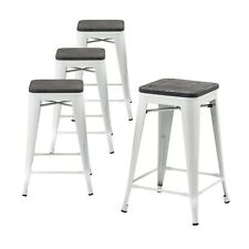 "Set of 4 White 24"" Tolix-Style Metal Bar Stools with Wooden Seat As Is"