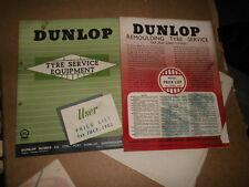 PNEUMATICO DUNLOP equipaggiamento di servizio Listino prezzi e fogli di dettagli 1952