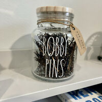Rae Dunn BOBBYPINS Glass Jar Accessories 300 Bobby Pins Brand New