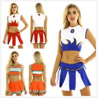 Cheerleader Women Student Cosplay Fancy Dress Crop Top Pleated Skirt Costume