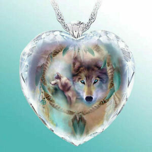 925Silver Women Animal Wolf Hearts Necklace Natural Crystal Pendant Jewelry Gift