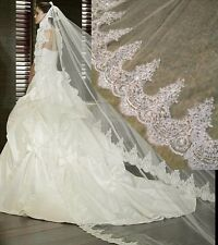3 Meter White Ivory Cathedral Wedding Veils Long Lace Applique Edge Bridal Veil