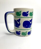 Vintage 1982 Down-East Crafts Blue/Green Whales Coffee Mug Preppy Classic 80s