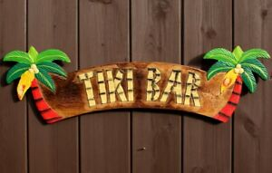 Wooden TIKI Bar Sign Decoration Hand Carved Painted Garden Pub Decor Paddle