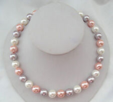 Handmade Genuine 10mm Multicolor South Sea Shell Pearl Round Beads Necklace 18''