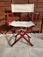 1x Red Wooden Folding Directors Chair, white material, used condition, see pics