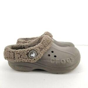 B12 Crocs Faux Fur Lined Clogs Shoes Kids Junior Sz J3 Brown
