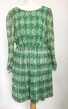 Ladies DARLING Green Pink 70s style summer dress. Sheer Sleeves. Festival. Sz M