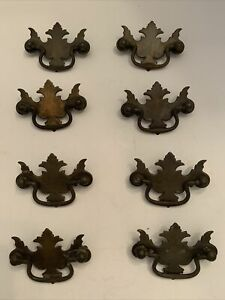 Shipping Included Rust Inhibiting Powder Coat Brown Finish HW-32 Antique Replica Fleur De Lis Cast Iron Drawer Pulls 9 14 long