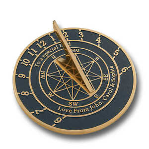 Solid Brass Custom Star Sundial With Your Personal Message Cast Into It