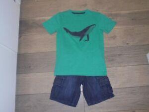 Gymboree Deep Sea Adventure denim cargo shorts with matching whale shirt boys 7