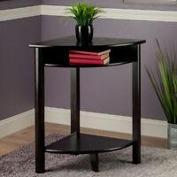 Contemporary Corner Table w/ Shelf Storage Wood Computer Writing Desk Dark Brown