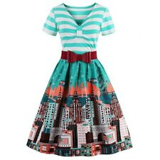 Striped Bowknot City Printed Flare Dress - Cyan  - size 12 - 14