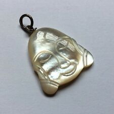 Sterling Silver 925 Mother Of Pearl Carved Buddha Head Pendant Necklace Charm C