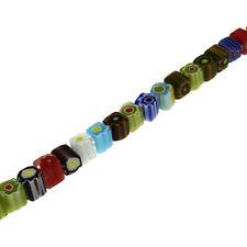 Strang GLASPERLEN Perlen MILLEFIORI CUBE Farbe mix - 6 mm - p00140x6