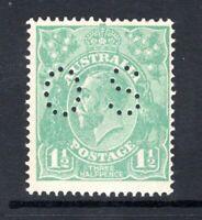 Australia 1½d green KGV S/Crown w/m MNH OS puncture ACSC 88ba CV $150