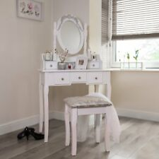 White 1.45m Dressing Table With Adjustable Mirror + Stool 5 Drawer Vanity Desk