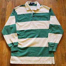 Vintage Polo Ralph Lauren Rugby Shirt Long Sleeve Green Off White Stripe Medium