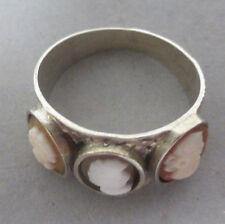 ❂ ► Sehr seltener Ring mit 3 Kameen, Silber 800, Grösse 53, Ø 17mm