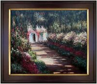 Framed Hand Painted Oil Painting Repro Claude Monet Garden in Flowers 20x24in