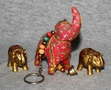 India Elephant Zoo Safari Animal Hindi Decorative Ornaments Statuette B  (set 3)