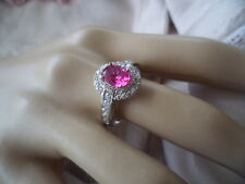Antique Vintage Sterling Silver Ring large size 10 or U with Ruby and Sapphires