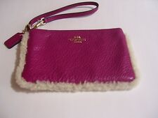 COACH WRISTLET PINK LEATHER PURSE HANDBAG FAUX FUR TRIM GOLD ACCENTS NWOT !!