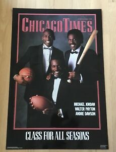 VINTAGE MICHAEL JORDAN WALTER PAYTON ANDRE DAWSON CHICAGO CUBS POSTER 1988 RARE