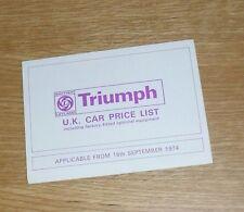 Triumph Price List September 1974 - Stag 2500 PI 2500 TC 2000 Dolomite Toledo