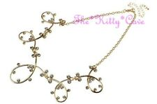 Stunning Wide 16K Gold Plated Artisan Loops Bib Necklace w/ Swarovski Crystals