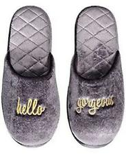 "JILLY Womens SLIPPERS "" HELLO GORGEOUS "" GRAY SOFT Mules Slippers 11/12 NWT"