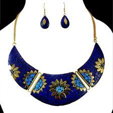 Banjara Necklace & Earring Nepal Fashion Lapis Brass Tibetan Jewelry  KBN502