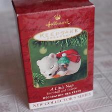 A Little Nap Snowball & Tuxedo Ornament Christmas 2001 Hallmark #1 Bear Penguin