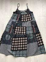 Bohemian tiered maxi dress patchwork print size L uk 16 lagenlook AA