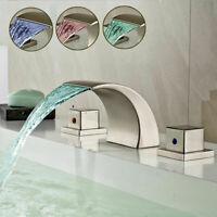 LED Badezimmerhahn Wasserfall Badezimmerwannehahn bürstete Nickelbassinhahn