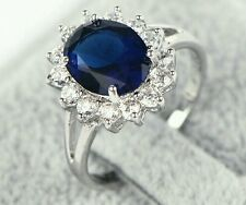 Stunning simulated Sapphire + CZ stone ring in white gold fill