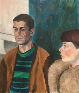 20th Century English School Oil on Board Figurative Painting Of Young Couple.