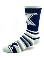Xavier Musketeers For Bare Feet Navy Gray and White Striped Crew Socks