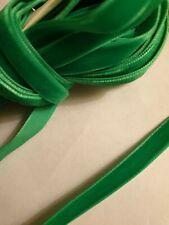 """Soft Velvet Ribbon woven edge bright green 3/8"""" 10mm x 1m"""