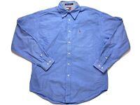 Vintage Tommy Hilfiger Mens Shirt Size L Long Sleeve Button Up Blue 1999