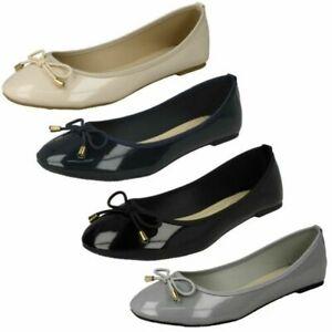 Ladies Spot On Patent 'Ballerina Shoes'