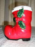 Vintage LEFTON Ceramic Boot Planter Holly