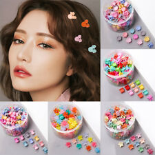 100Pcs Multicolor Acrylic Kid Girls Mini Hair Clips Hairpins Clamps Mixed Color