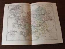 1850 Carte Géographique Atlas époque couleur Département Loire Atlantique 44