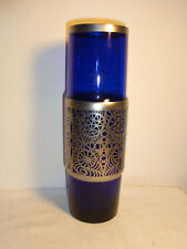 """Mid Century 60's Blue Glass Vase with Metal Rig-Out 11 3/4"""" #^"""