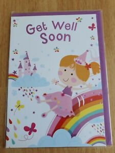 Get WELL Soon Card - Kids Princess Rainbow Castle - NEW with Envelope