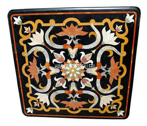 """36"""" Black Marble Square Side Dining Table Top Inlay Gems Marquetry Decors H2891A"""