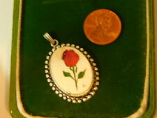 Handcrafted Red Rose Carved Flower Vegetable Ivory Silver tone Pendant  8a 68