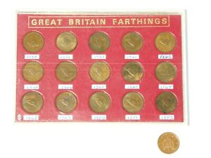 1938-52 Uncirculated Set of 15 George VI WREN Farthing Coins in Casing